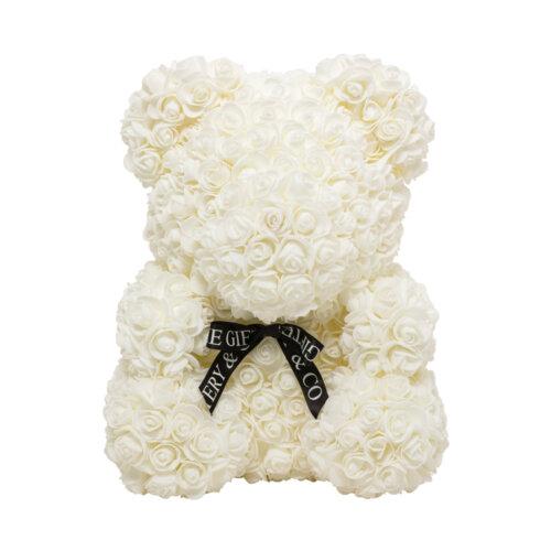 40cm fuchsia rose teddy bear front